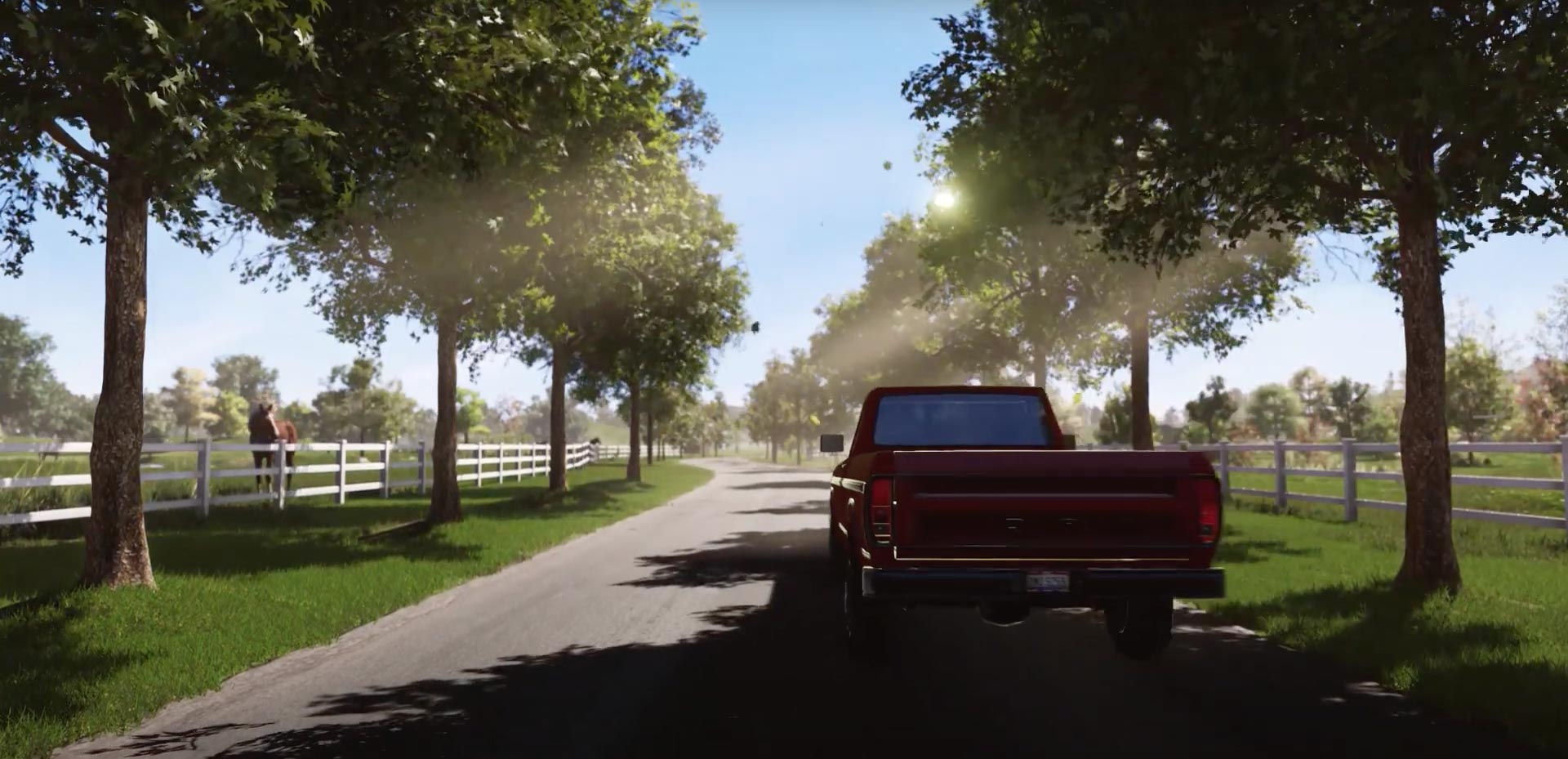 Truck Driving Up Homefront Entrance Road